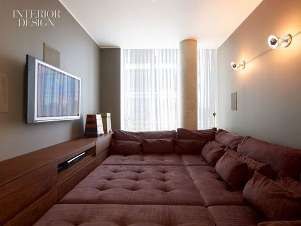 Omg. A theater room that has a big comfy couch for a floor. The boyfriend would LOVE this.