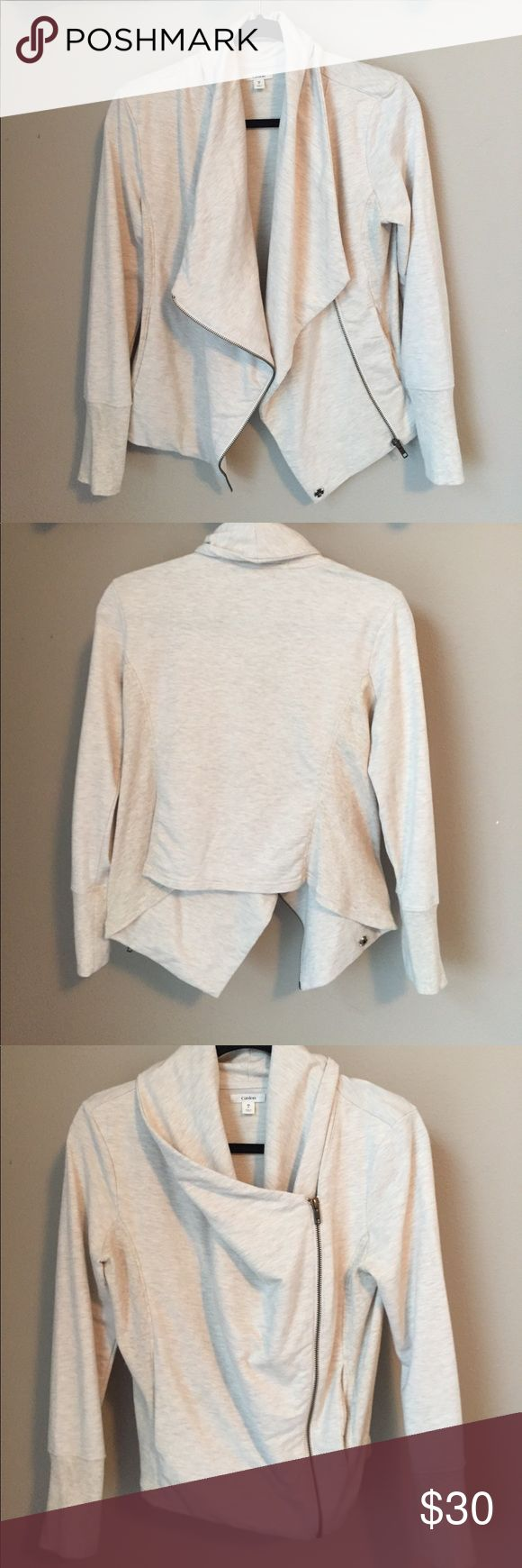 Caslon cream zip up wrapped jacket This top has been worn twice. It's in excellent condition!! Great for a casual or dress up event!! Caslon Jackets & Coats