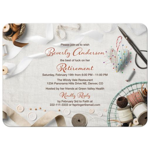 Seamstress Sewing Retirement Party Invitation Retirement