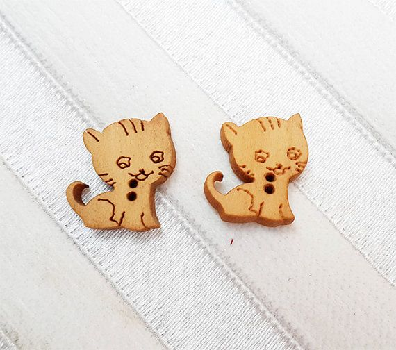 So Cute Kitty Cat Wood Wooden Buttons in Natural by nezoshop, $2.80