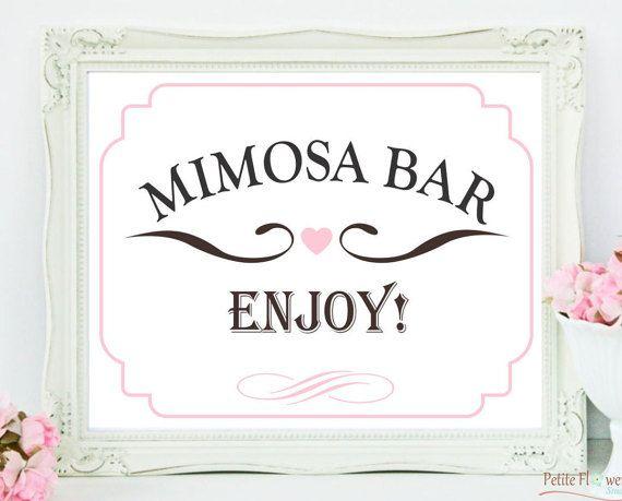 Mimosa Bar Sign  Bridal Shower Decoration  by PetiteFlowersStudio