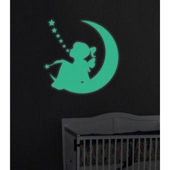 Sticker Fosforescent - Zana si luna : Fosforescente - ★ Stickere Decorative ★ Stickere.Net ✫ Autocolante decorative de perete ®