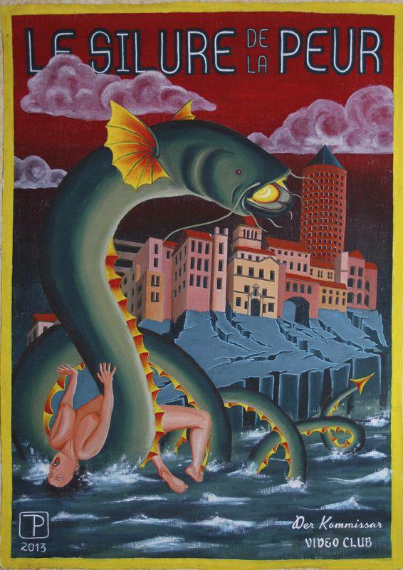 Le silure de la peur, ghana movie poster, catfish, lyon, rhone, terror, bmovie, serie z, nanar, affiche, cinéma, fra angelico, duccio, part-dieu, kommissar
