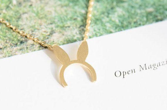 Rabbit /Bunny/Bonnie Necklace. Dainty Vintage Bunny Ear Necklace, Boho Bunny Necklace, Mickey Mouse Ears Necklace, Boho Rabbit Earrings