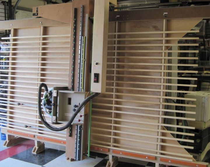 Panel Saw by Bob Fasano -- Homemade panel saw constructed from wooden slats, plywood, and metal tracks. http://www.homemadetools.net/homemade-panel-saw-30