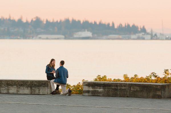 Sunny Waterside Surprise Proposal in Bellingham, Washington