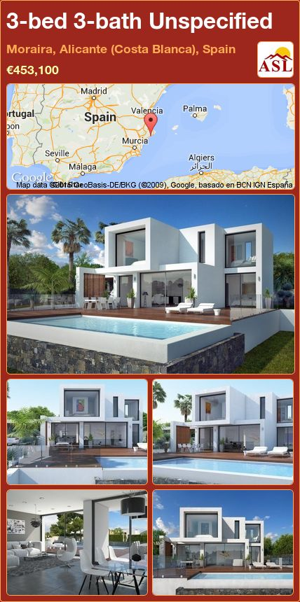 3-bed 3-bath Unspecified in Moraira, Alicante (Costa Blanca), Spain ►€453,100 #PropertyForSaleInSpain