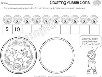 AUSTRALIA FOR KINDER KIDS - Australia for Kinder Kids has 50 fun Language and Math 'Australia themed' printables, including: labeling Australian animals; Read, Roll and Write sight words; Sorting cvc words; O'clock time; Patterning; Counting by 2, 5 and 10 and using Tally Marks. There are also 36 illustrated Australia Word Wall cards. $