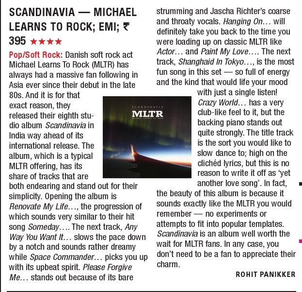 Nice review of our new album Scandinavia in The Times Of India