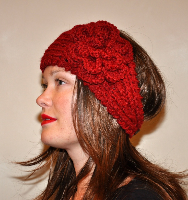 Crochet HEADBAND Flower CHOOSE COLOR Cranberry Red Girly Knitted Ear Warmer Hat Headband head bands Hair Coverings Valentine Red Gift. $27.99, via Etsy.