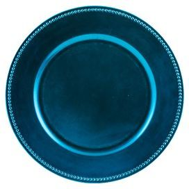 """Bring style and flair to your tabletop with this entertaining essential, perfect for decadent soirees and weeknight dinners alike.  Product: Set of 24 charger platesConstruction Material: GlassColor: Ocean blue Dimensions: 13"""" Diameter"""