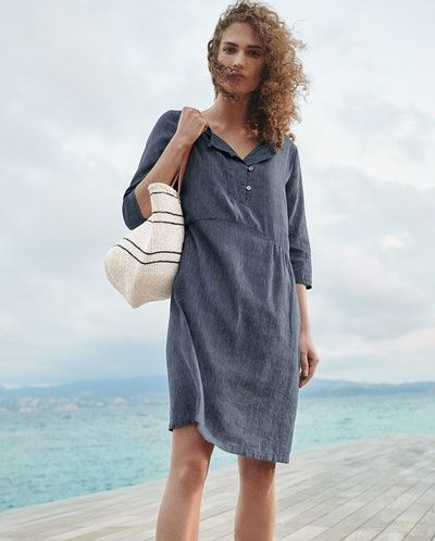 91fe5a96900 Poetry - Striped linen cotton dress - A simple summer shift dress with a slightly  gathered