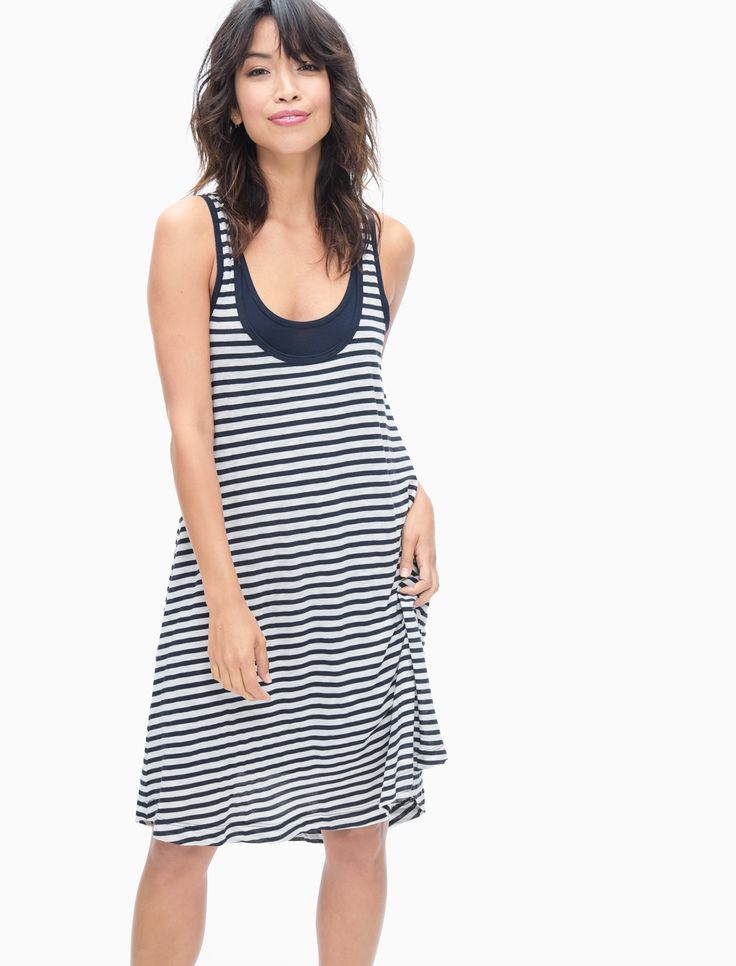 French Stripe Tank Swing Dress