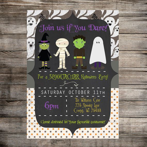 HALLOWEEN Costume Party Invitation- PRINTABLE- Halloween Invitation - CUSTOM- Costume Party- Halloween Birthday- Witch- Frankenstein- Ghost