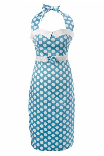 Collectif Clothing - 50s Stella Sweetheart pencil dress Baby Blue polka dot - bought this dress recently at www.topvintage.nl