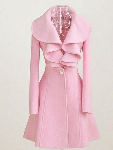 Choies Pink High Waist Woolen Coat With Ruffled Collar featuring polyvore fashion