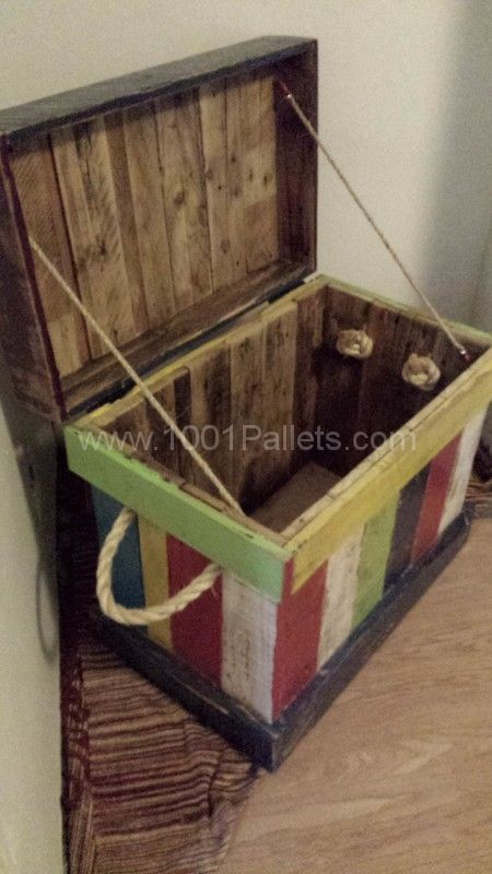 Reclaimed pallet into kids toy box pallet ideas toys for Toy pallets