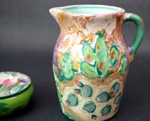 Large-Lesal-Ceramics-Pottery-Pitcher-Flowers-Southwestern-Signed-Hand-Painted