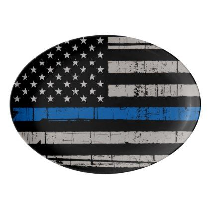 Thin Blue Line - Police Officer - K9 Police Dog Porcelain Serving Platter - office decor custom cyo diy creative
