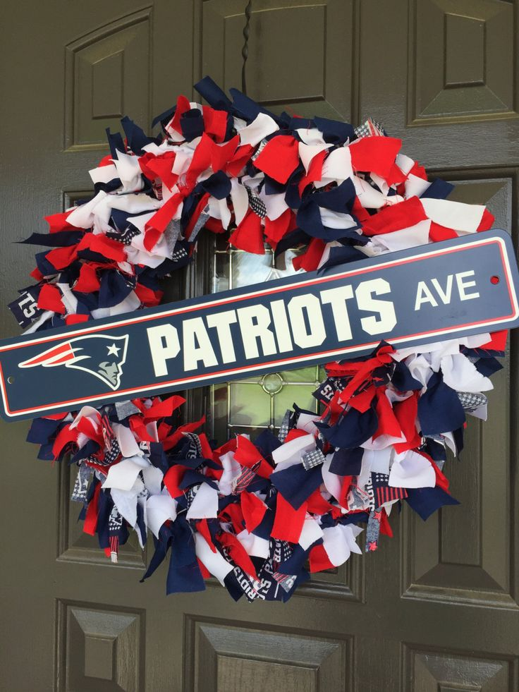 New England Patriots NFL Fabric Wreath with Street Sign by CarolinaConcepts on Etsy