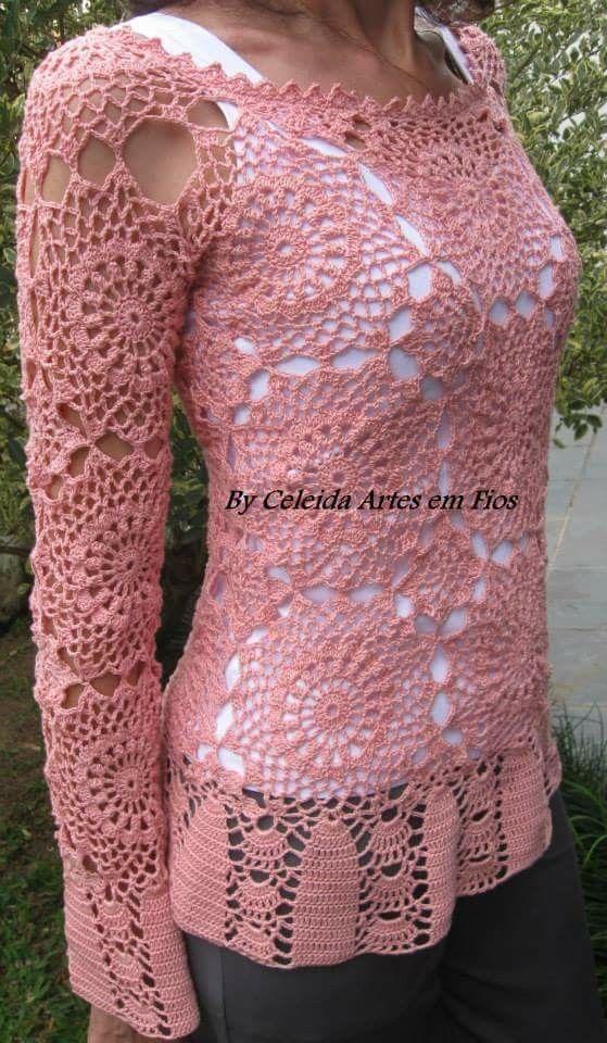 Celeida Ribeiro - Blusa em crochê com squares! ( rendada)