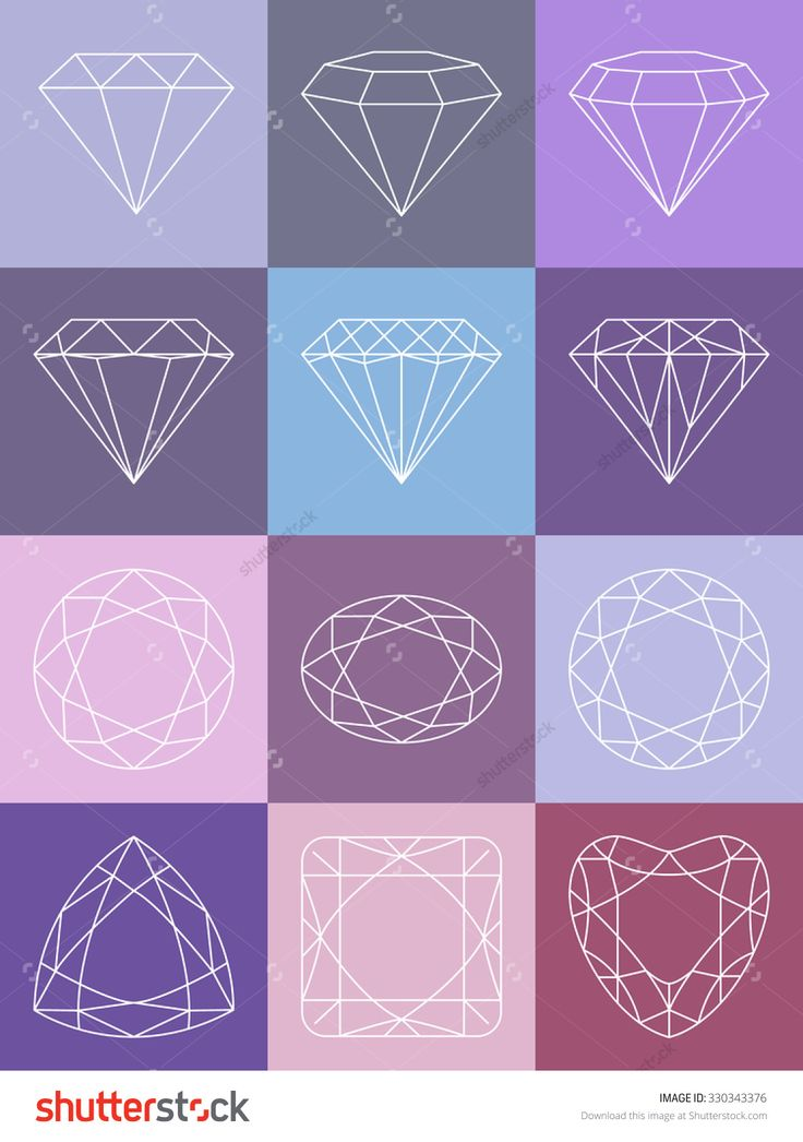 Set of isolated gem stones.Vector set of diamond design elements. Precious gem…