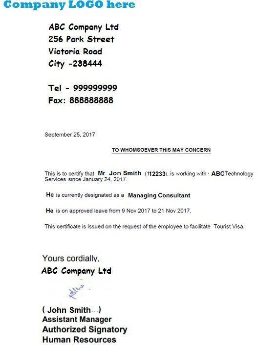 Schengen Visa Leave Letter Sample Employee Leave Noc Letter Format Touryard Letter Of Employment Lettering Letter Sample