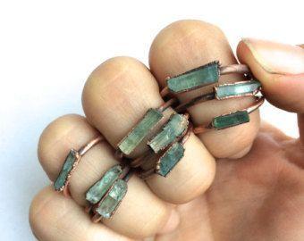 Aquamarine Raw Crystal Stone Ring Midwest by MidwestAlchemy