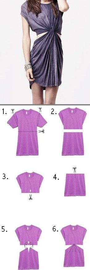 DIY T-shirt dress. For the dress on the model, they must have cut the the bottom of the bodice with a slit a few inches long, to tie it and gather it like the top of the skirt. Otherwise, it would just hang from a loose crop top, like in photo #6.