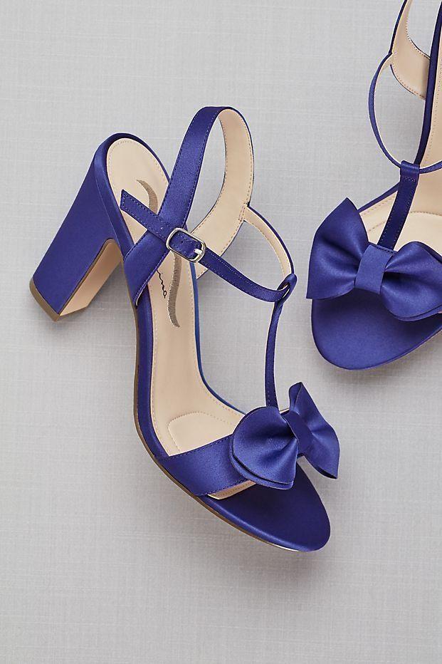 Bowtied Satin T Strap Block Heel Sandals David S Bridal Bridal Shoes Wedding Shoes Best Bridal Shoes