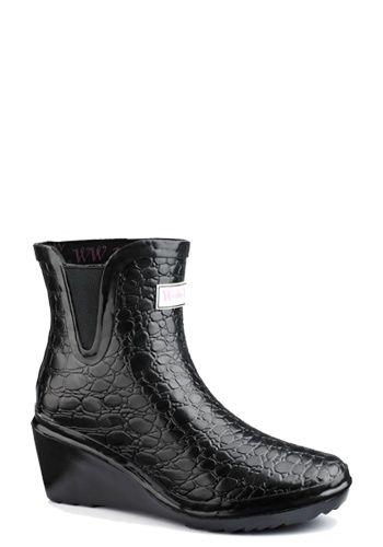 Wedge Welly Lage zwarte regenlaarzen croco met sleehak