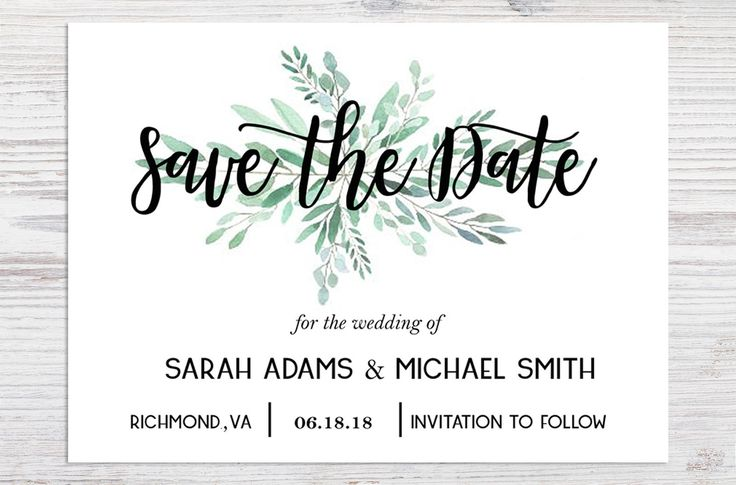 Save the Date Announcement Card | Printable Save the Date | Wedding Template Card | Engagement Announcement Card 5x7 by printandscript on Etsy