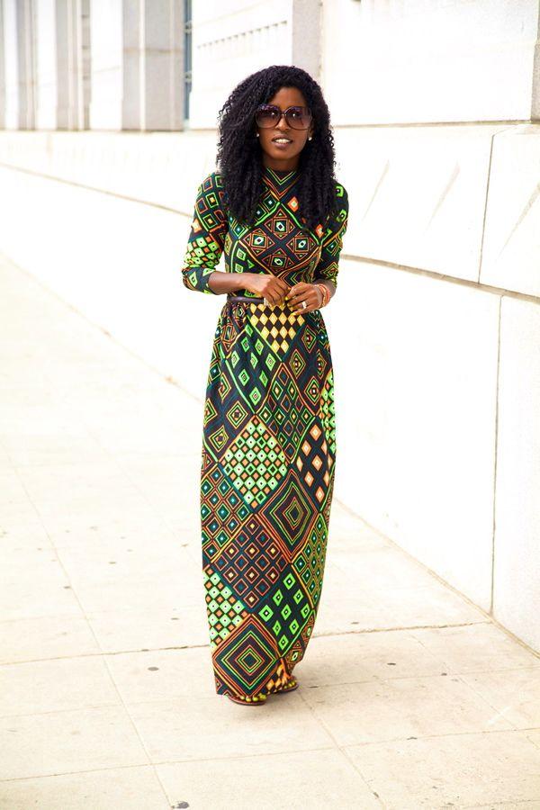 Style Pantry | Vintage Geo Print Maxi Dress....just love this...designer unknown