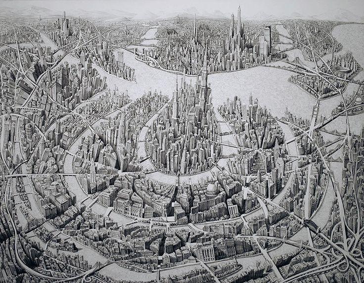 Сочетание реализма и абстракции в невероятных городских пейзажах Бенджамина Сака