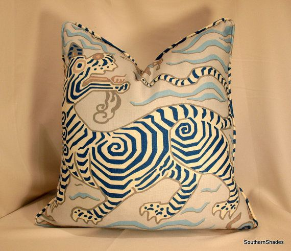 One or Both Sides - ONE High End Clarence House Tibet Print Pale Blue Pillow Cover with Self Cording