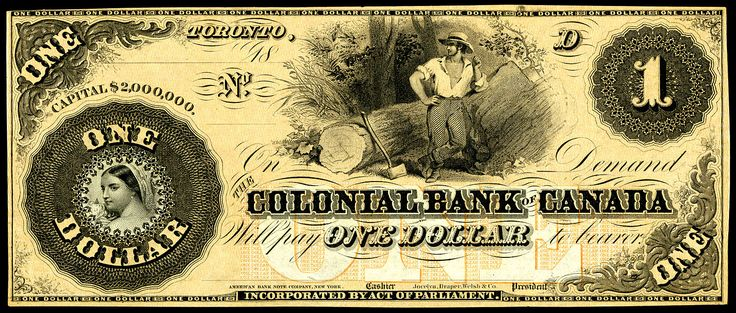 Colonial Bank of Canada, Toronto-1 Dollar (1859)