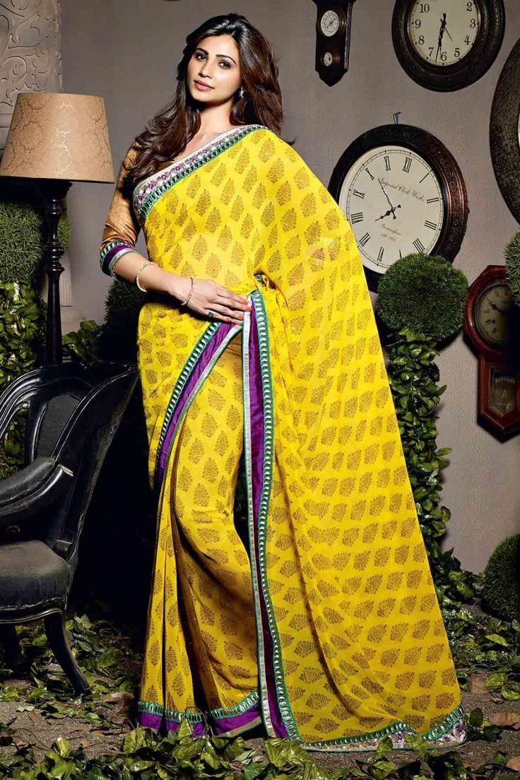 Daisy Shah Saree - Yellow Faux Georgette Party Wear Saree #designer #bollywood #daisyshah #sarees @ http://zohraa.com/sarees/sari/celebrity.html #celebrity #zohraa #onlineshop #womensfashion #womenswear #bollywood #look #diva #party #shopping #online #beautiful #beauty #glam #shoppingonline #styles #stylish #model #fashionista #women #lifestyle #girls #fashion