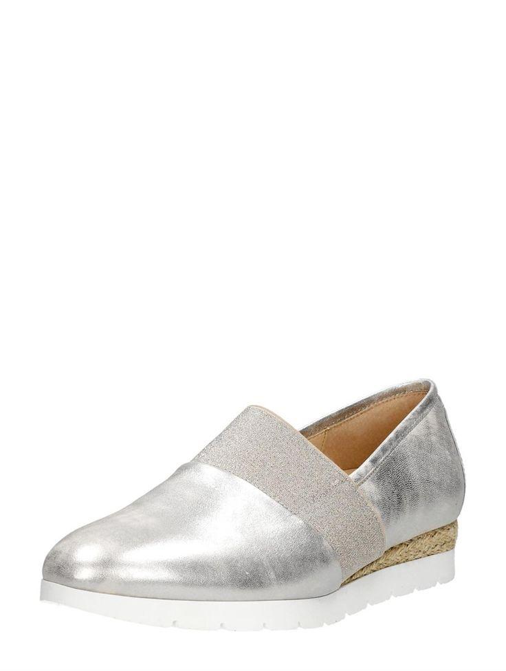 Gabor elegante dames loafers met kurkzool - zilvergrijs