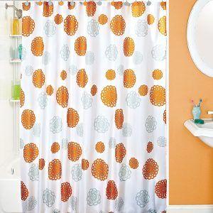 Orange And Gray Shower Curtain