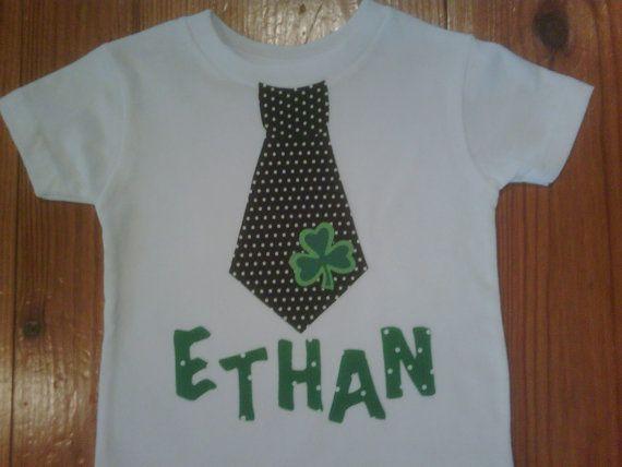 Boys St. Patty's shirt. Black white pin dot by EverythingSorella, $27.50