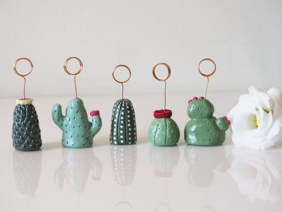 Cactus table number holders set 5 Cactus wedding by paintmydream