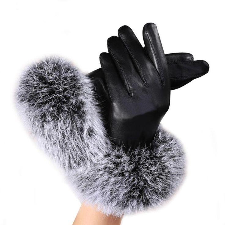 女性ファッションレディーブラックpuレザー手袋秋冬暖かいウサギの毛皮の女性の手袋guanti invernaliドナ2016 y10