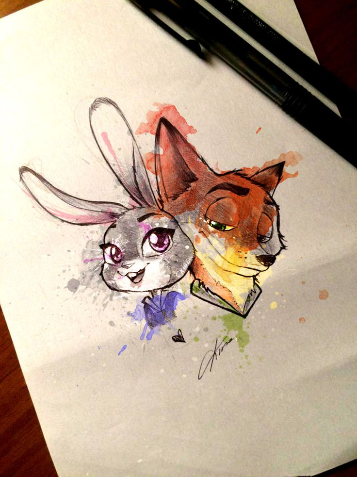 Judy and Nick - Zootopia colored version by CKibe.deviantart.com on @DeviantArt