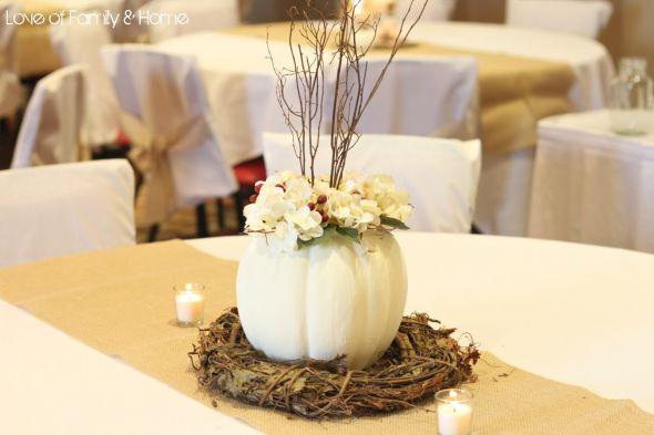 Fall Centerpieces.....CANT DECIDE! :  wedding White Pumpkin And Grape Vine