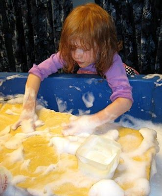 Giant, soapy sponge in the #sensory table.  I want one!