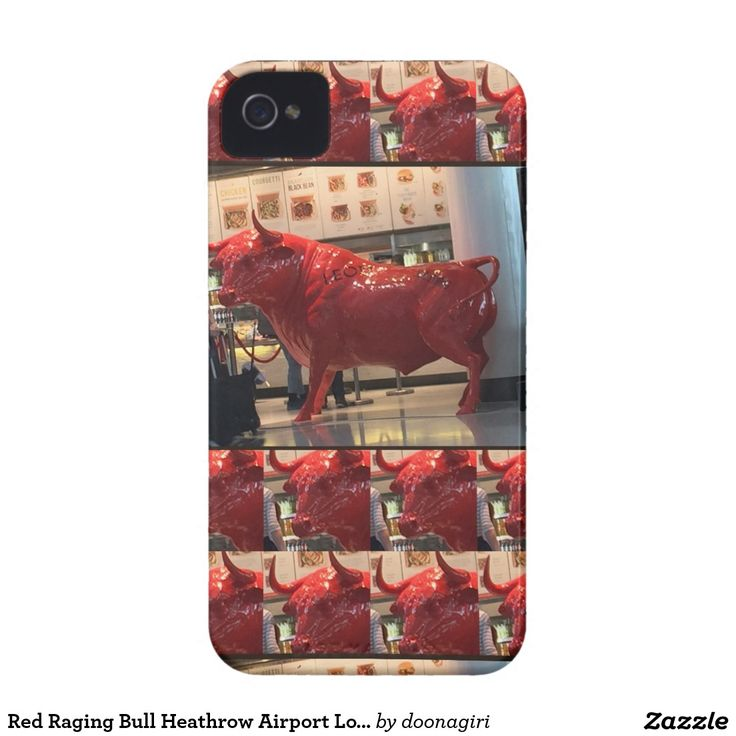 Red Raging Bull Heathrow Airport London England UK Case-Mate iPhone 4 Cases