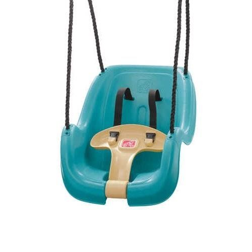 $31.98 Step2 Infant to Toddler Swing 1-Pack (Turquoise). Watch your child have lots of fun on our new and improved Step2 Infant to Toddler Swing! Child fits snugly and securely in this easy loading comfortable swing. This infant to toddler swing features a weather resistant rope and an easy to clean seat. Fresh new color looks great in any back yard and minimal adult assembly required. The Step2 Company is a family company with toy brands including Step2, Infantino, and Thinkativity that
