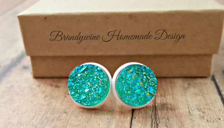 Aqua Blue Druzy Earrings, 12 mm Druzy, Druzy Studs, Aqua and White Druzy Earrings, Ocean Blue Druzy, Earth Jewelry by BrandywineHD on Etsy