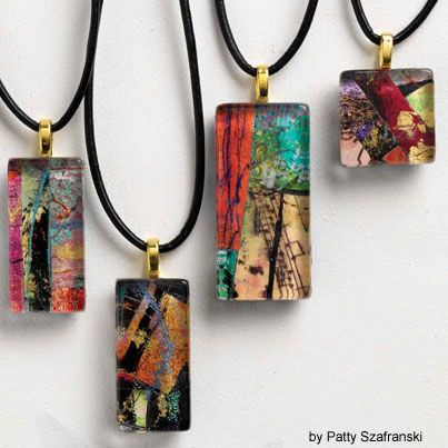 Mini size collages using those bits of colorful and interesting paper. Add a bail and chain and you've got instant an art necklace. Free project!