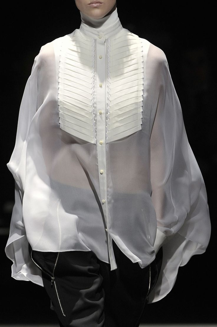 Sheer white blouse with pleated front & mandarin collar; fashion details // Alexander Wang